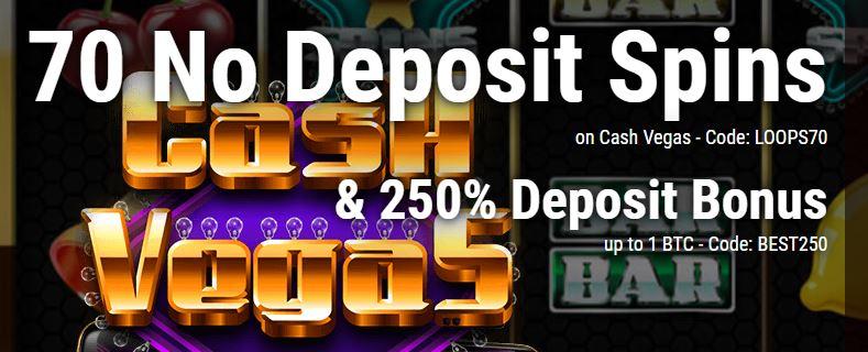 70 no deposit spins plus 250% deposit bonus up to 1 BTC at CryptoThrills