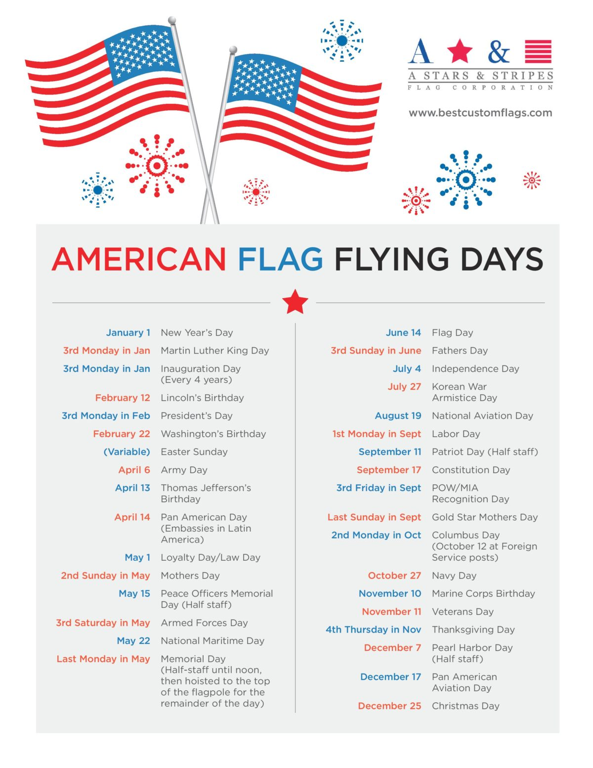 American Flag Flying Days