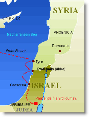 Third Missionary Journey Patara to Jerusalem