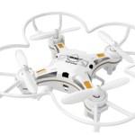 mini drone parrotvbianco e giallo su sfondo bianco