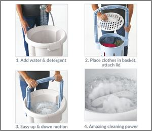 Hand Powered Washing Machine Manual Clothes Washer Portable