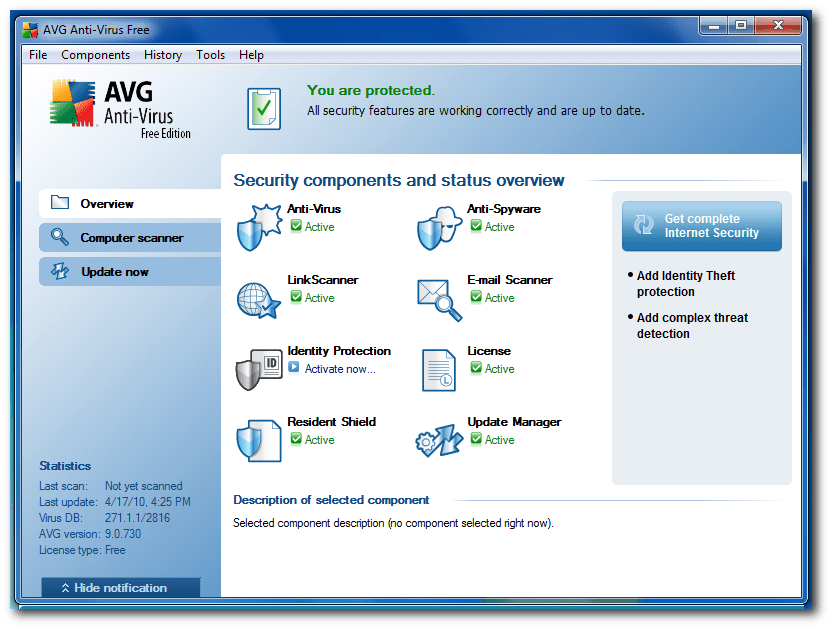 bedieningspaneel avg gratis virusscanner