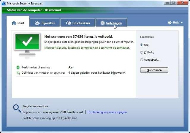 bedieningspaneel microsoft virusscanner software