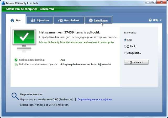 bedieningspaneel microsoft virusscanner software