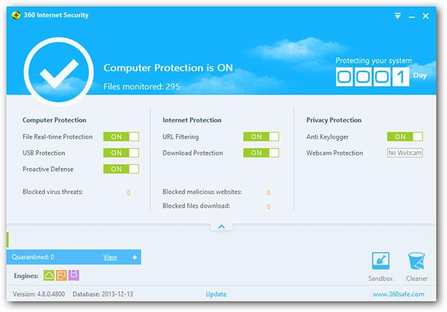 bedieningspaneel 360 internet securit