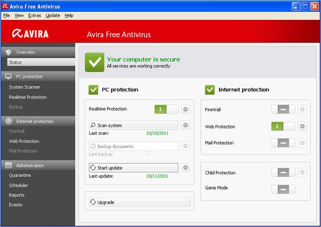 avira gratis virusscanner bedieningspaneel