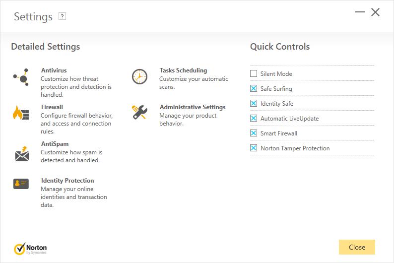settings menu norton security