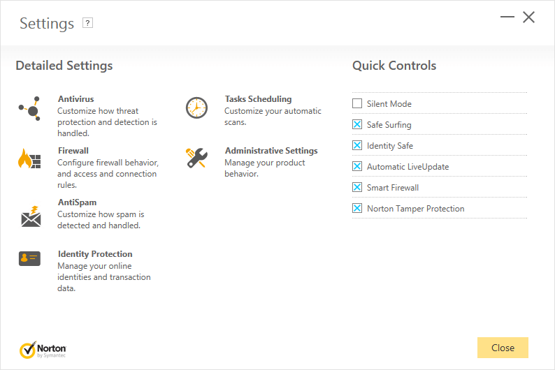 settings menu norton security