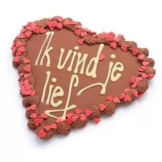 chocolade hart met tekst