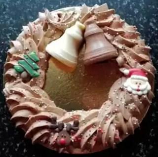 Kerstkrans room chocolade
