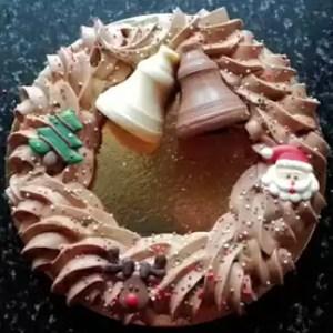 Kerstkrans in roomchocolade