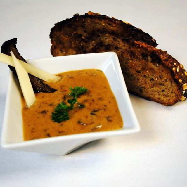 Parsnip pumpkin and wild mushroom bisque with toasted rye baguetteshellip