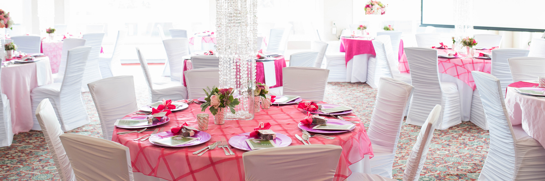 pink table set up