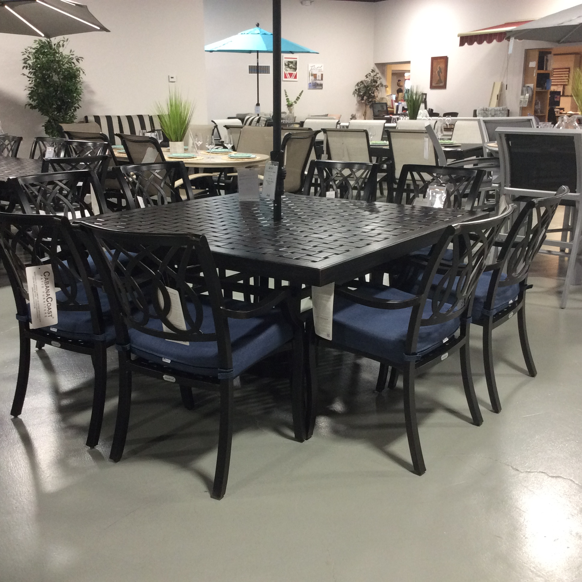bloom outdoor dining set with square table by cabanacoast