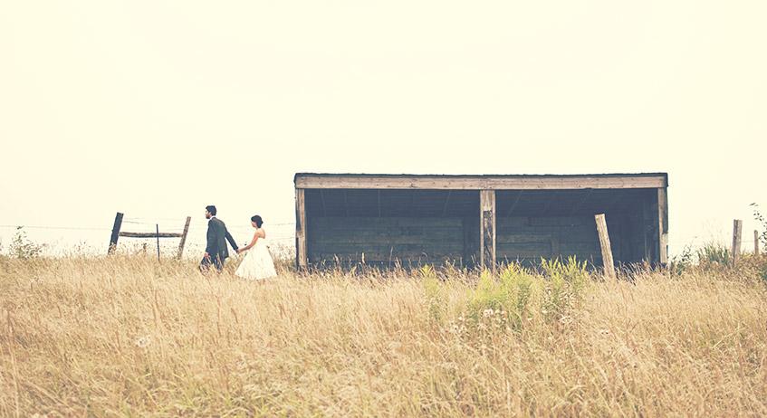 Married couple in field