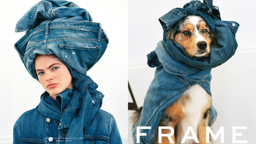 Bruce Weber Photo of Dog and Woman Wrapped in Frame Jeans