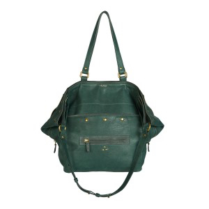 Jerome Dreyfus Slouchy Leather Handbag in Malachite Green