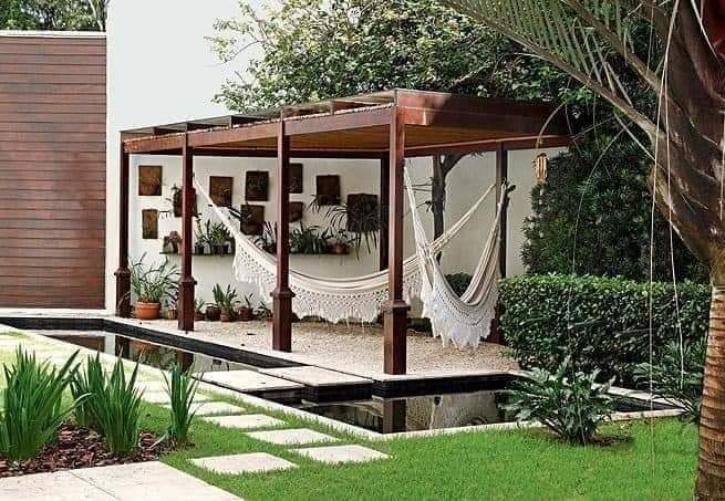 Curtains and pergola