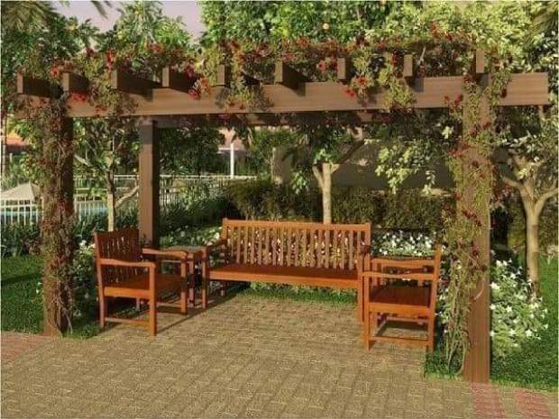 Pergola with three chairs