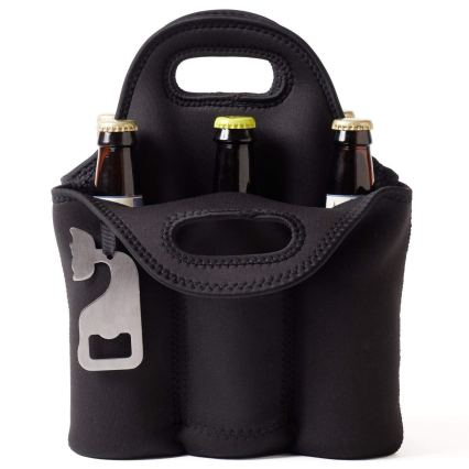 Insulated 6 Pack Beer Carrier with Bottle Opener front