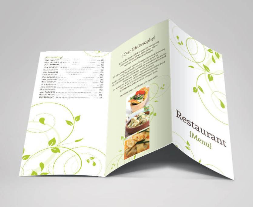 green swirls tri-fold menu outer