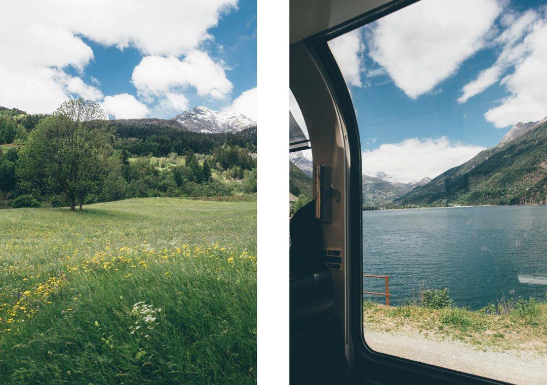 Vues depuis le train panoramique suisse: Le Bernina