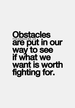 obstacles are put in our way to see if what we want is wroth fighting for