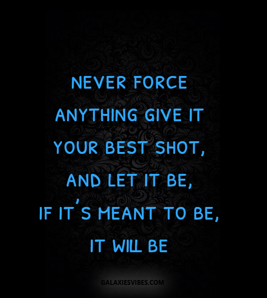 Best Love Quotes Never Force Anything Give It Your Best Shot And