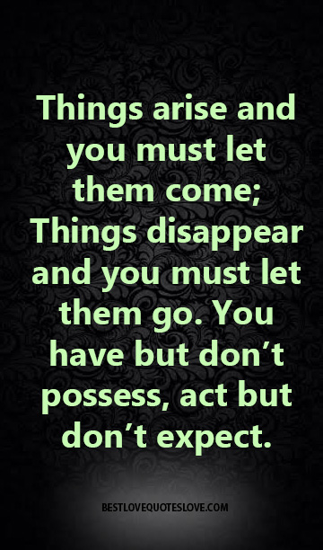 Things arise and you must let them come; Things disappear and you must let them go. You have but don't possess, act but don't expect.