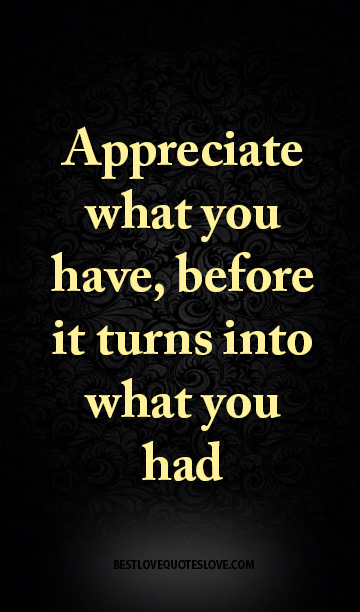 Appreciate What You Have Before It Turns Into What You Had