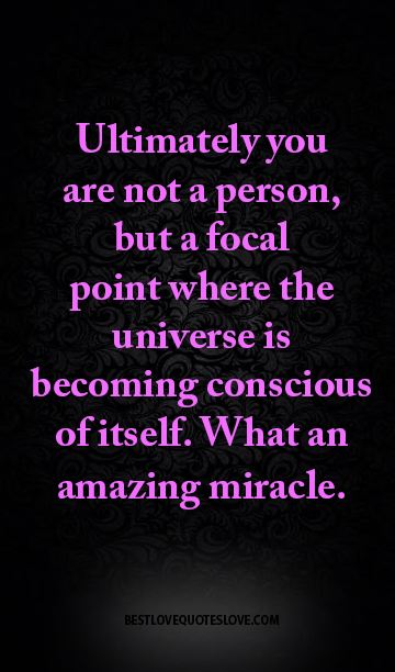 Ultimately you are not a person, but a focal point where the universe is becoming conscious of itself. What an amazing miracle.