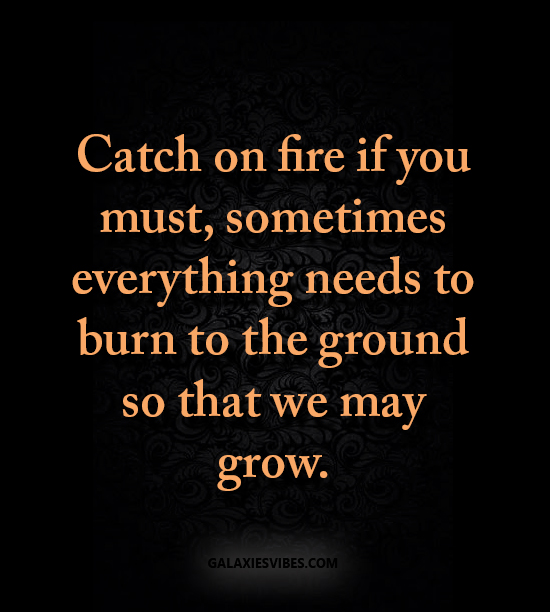Catch on fire if you must, sometimes everything needs to burn to the ground so that we may grow.