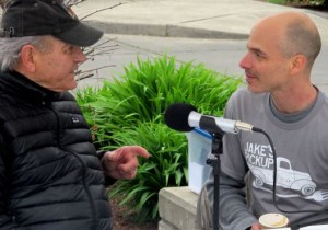 BCB host Bob Ross talks with Jake Angel at the Farmers Market