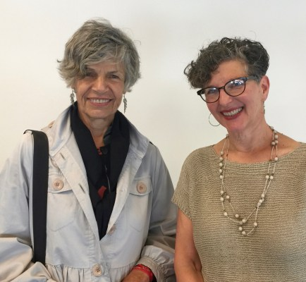 Susan Stamberg (left) of NPR and Marcie Sillman of KUOW, after their podcast conversation at Bainbridge Island Museum of Art