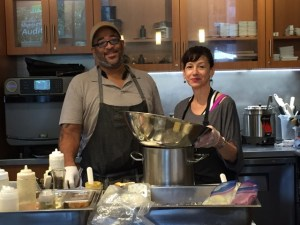 Bima Bistro Chef Melinda Lucas (R) with Catering Chef Marcielle Herring.