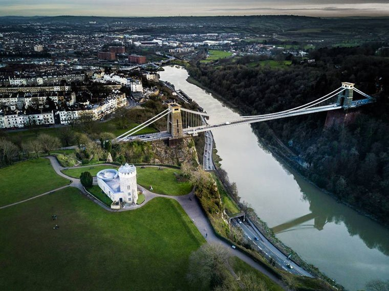 clifton suspension bridge drone