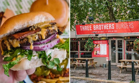 Vegan burger and facade of Three Brothers Burgers