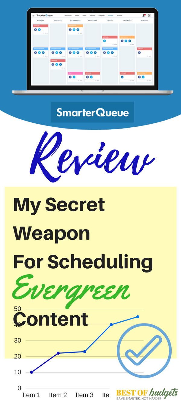 SmarterQueue has become my Secret Weapon for Scheduling Evergreen Content. Read my review and grab a 30 day free trial now!