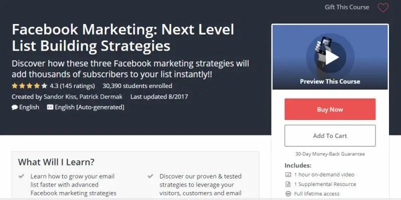 Facebook Marketing: Next Level List Building Strategies Review