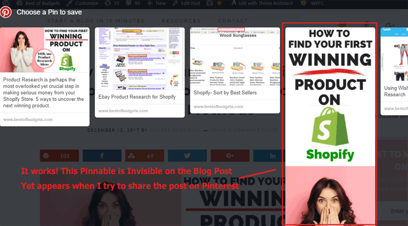 Hiding Your Pinterest Pinnable Graphic on your blog Post