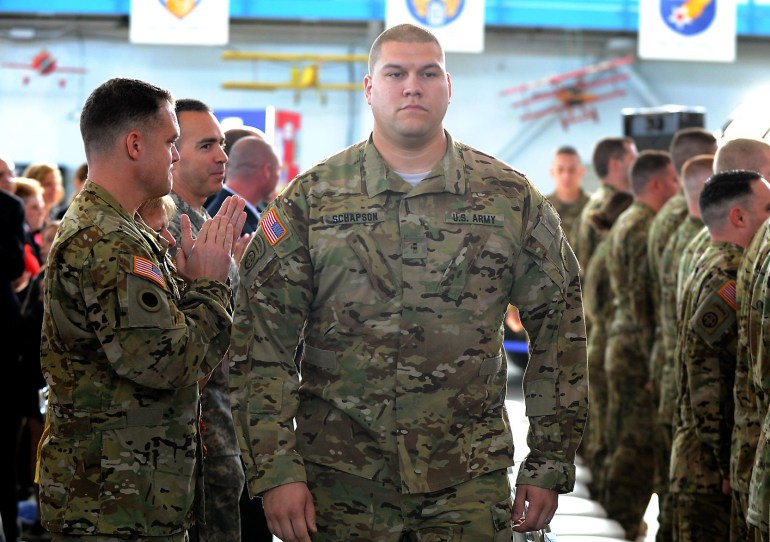 Soldiers at the Call to Duty Ceremony for Company B 3-238th AViation Regiment (GSAB) at the MAPS Air Muesum.