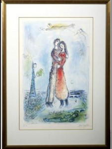 'La joie,' color lithograph, by Marc Chagall