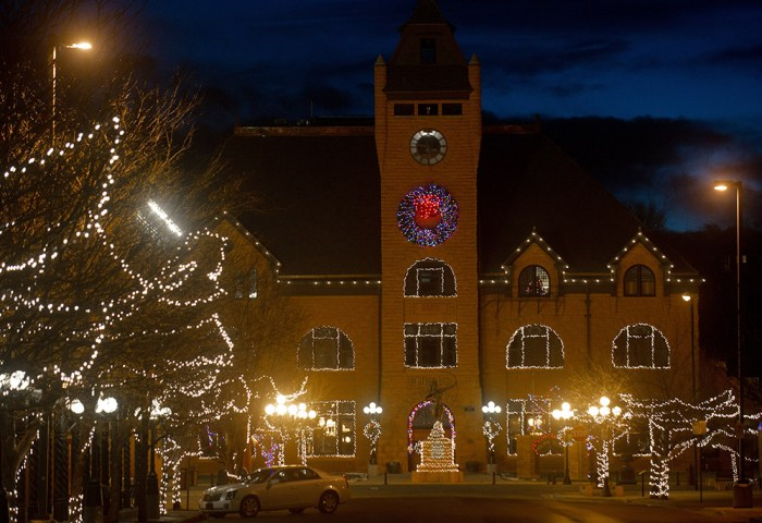 The Pueblo Union Depot adorned with Chirstmas lights. Photo by Mike Sweeney