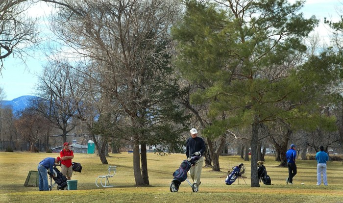 Colder weather during much of this month has kept local golfers indoors for the most part, but Monday's spring-like temperatures brought them out to places like Elmwood gofl course at City Park on Jan. 19, 2015 in PUeblo, Colo. The respite may only be temporary, however, since temperatures are expected to be much cooler soon. (Chris McLean, The Pueblo Chieftain)