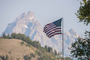 Flag and Tetons