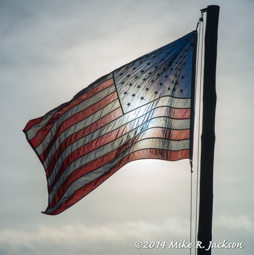 Backlit American Flag