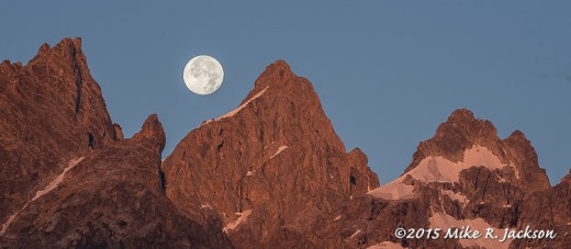 Blue Moon Setting Over the Teton Range