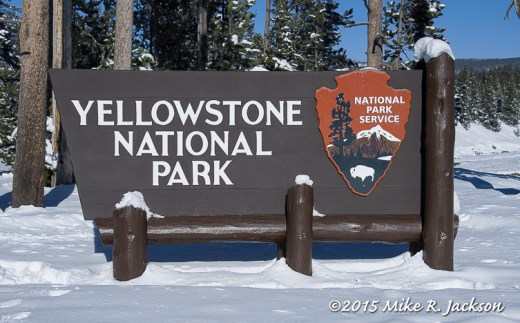 Yellowstone Sign in Winter
