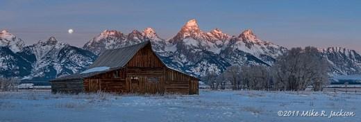 Winter Barn and Moon December11,2011