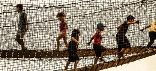 Kids on Footbridge
